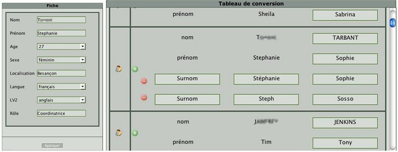 Figure 1. Interface de l'anonymiseur : Fiches & Table de Conversion